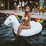 Inflable de Unicornio Flotador de Helado para piscina, Juguete para fiesta de piscina con válvula rápida piscina diversión para niños y adultos (Unicornio Pequeña)