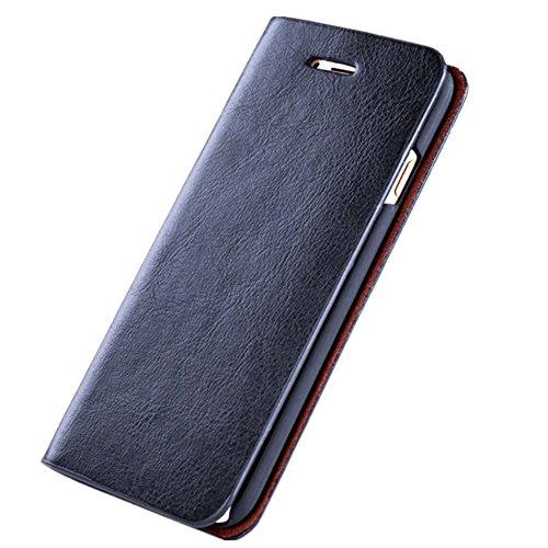 Wouier iPhone 6/6s Hülle, Einfarbig PU Flexible Leder Wallet Anti-Scratch Schutz Handy Hülle Flip Etui Schale Case Cover Tasche für iPhone 6 6s (blau, iPhone - Mikrofaser-wallet-karte