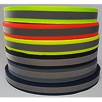 20 lfm Reflektierendes Band zum Aufnähen - 20 mm breit - Reflektorband von Steinerfilm, in grau 20m