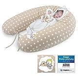 Cojín para bebés de Sei Design, talla XXL, 190x 30cm, relleno de bolas 3D de fibra no contaminantes con certificado de ÖkotexFunda con cremallera y bordado de gran calidad. beige beige Talla:Füllung: Faserbällchen