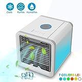 Mobiles Klimageräte Mini Tragbare Klimaanlage Luftkühler Air Cooler, 3 in 1 Klimaanlage Ventilator, Luftbefeuchter und Luftreiniger [USB Anschluß, Einstellbare 7 Stimmungslichter, 3 Windgeschwindigkeit]