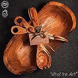 What the Art! Olive Wood | Olivenholz Salatschüssel inkl. Salatbesteck + Salatzange + Geschenk | Gr. XXL | ca. 40cm x 20cm | Schüssel - Holzschüssel - Holzschale - Salatschale - Buddha Bowl