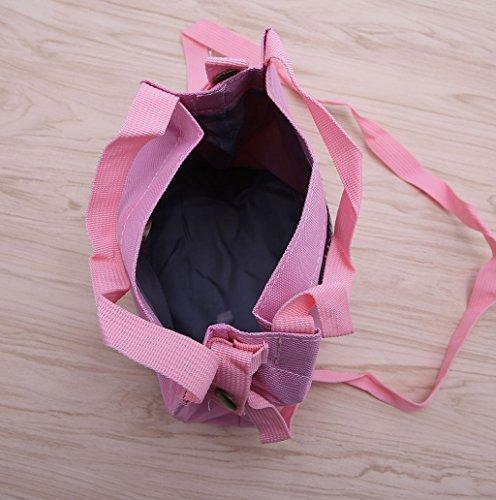 Dairyshop Sacchetto di spalla della borsa della traversa della tela di canapa delle donne (Grigio) Rosa