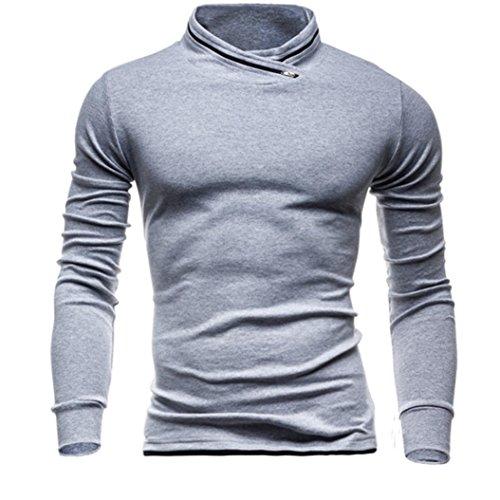 Übergang Blusen FORH Herren Herbst Winter Langarmshirts Sweatshirts Klassisch Basic Solide Farbe Bluse T-Shirt weich Rundhals Pullover Hemd Oberteile Tops (Grau, M)