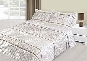 170x210 cm creme Tagesdecke Bettüberwurf mit Steppungen und 1 Kissenbezug 50x70 Satin Neuheit Schnäppchen Gloria