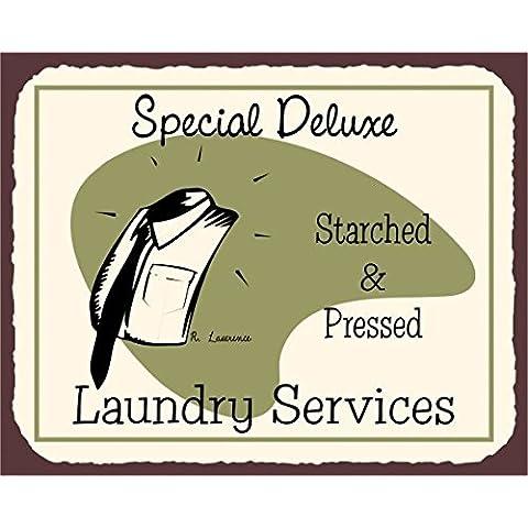 Laundry speciale per pulizia Deluxe Vintage in Metallo Art Retro latta metallo Tin Sign 7x 10segni in metallo vintage