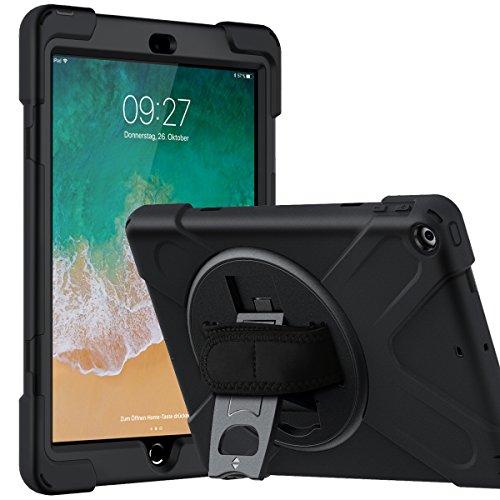 EasyAcc Hülle Kompatibel für iPad 9.7 2018/ 2017, Tough Armor Extrem Fallschutz Doppelte Schutzschicht Stoßabweisende 3 in 1 Silikon + PC Hybrid Schwere Pflicht Schutzhülle mit Kickstand, Schwarz