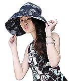 Amorar Frau Elegant Faltbares Drucken Wide Brim Sonnenhut, Satin UV Schutz Strand Hut Sonnenblende Medium Krempe Hut mit Klettverschluss - Einstellbare Größe
