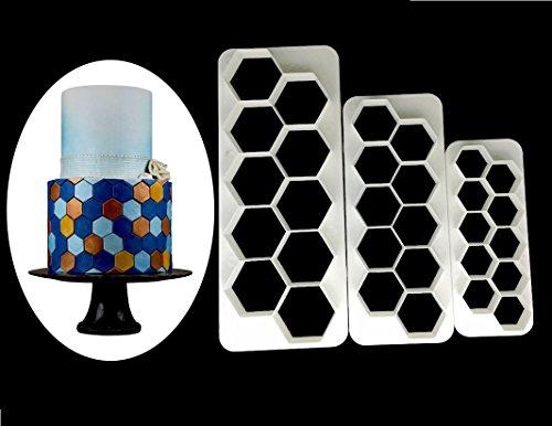 er-Geometrische multicutter- Fußball Kuchen Fondant Cutter-3Größe, Sechseck Ausstechformen, Roman Creative Kuchen dekorieren ()