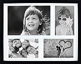 BD ART 28 x 35 cm Mehrfach Bilderrahmen, Bildergalerie, Fotogalerie mit Passepartout und 4 Foto-Ausschnitten für 3 Fotos 10 x 15 cm und 1 Foto 15 x 21 cm (A5), Schwarz
