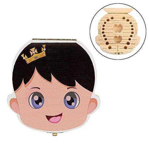 Cute Zahndosen Forh Nette Kinder Junge Mädchen Milchzähne Dose Holz Milchzahndose Wort Zahnbox Erinnerungsboxen Schön Geschenk Aufbewahrungsbox (Khaki B)