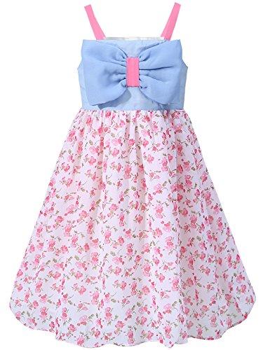 Bonny Billy Mädchen Kleider Ärmellos Chiffon Blumen Sommer Kinder Kleid mit Bogen 3-4 Jahre/98-104 Blau und Rosa
