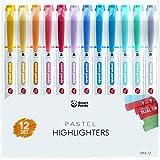 12 Evidenziatori Pastello - Doppia Punta, Grossa e Fine - Set da 12 Colori Assortiti