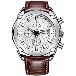 SONGDU Men's Chronograph Quartz Watch with Date Calendar White Analogue Display and Brown Leather Strap