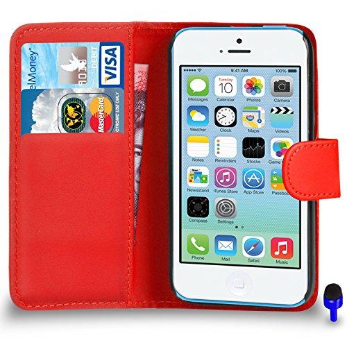 Porte-monnaie flip violet foncé Apple iPhone 5C Premium Leather Case Cover Pouch PAR SHUKAN®, (violet foncé) Rouge