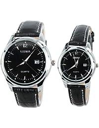 paracity (TM) Acero Inoxidable Cinturón de cuero Diamond Modelo parejas reloj Leina Juego de