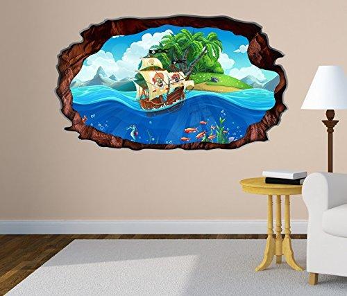 3D Wandtattoo Kinderzimmer Pirat Schiff Schatzkarte Meer Bild selbstklebend Wandbild sticker Wand Aufkleber 11H1405, Wandbild Größe F:ca. 162cmx97cm