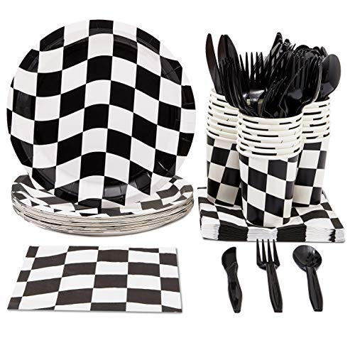 Disposable Dinnerware Set - Serves 24 - Racing Theme Party Pack - Includes Plastic Knives, Spoons, Forks, Paper Plates, Napkins, Cups
