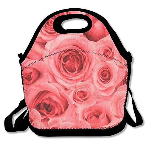 b64b9a0b364a Pink Roses Background Red Refreshing Lunch Bag Lunch Tote Lunch Box For  Women Men Kids With Adjustable Strap