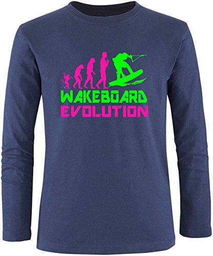 EZYshirt® Wakeboard Evolution Herren Longsleeve Navy/Pink/Neongr