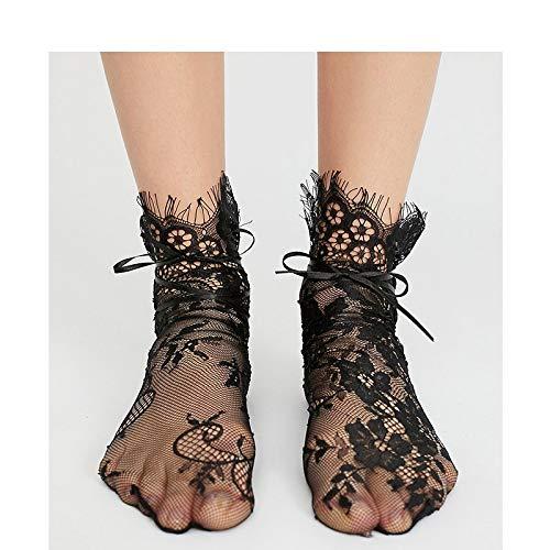 TIANFGK 5 Paar socken Sommer Socke Kurze Stickerei Mesh Fischnetz Socken Für Damen Blumenspitze Band Socken Für Frauen Ultradünne Transparente SockenSchwarz - Fischnetz-band