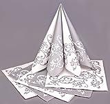 6 x Servietten SILBER WEISS Hochzeit Tischdeko Goldservietten Airlaid Servietten falten silberne Hochzeitsdeko Premium Stoff-ähnlich 40 x 40 cm 1/4 Falz