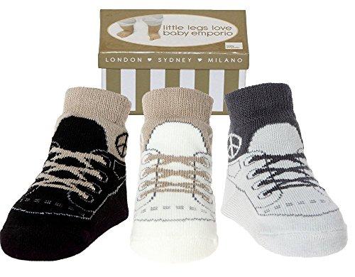 Baby Emporio - 3 paia di Calzini-per Bambini- che sembrano le Scarpe - Contenitore di Regalo-Cotone-Suole antiscivolo-0-9 Mesi