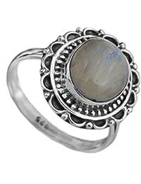 Moonstone del arco iris con - anillo ovalado de filigrana de plata de ley
