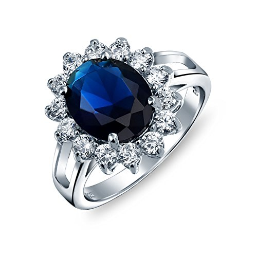 5ct Sterling Silver Simulated Sapphire CZ Engagement Ring 5 Carat Cz Engagement Ring