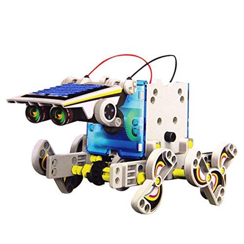 wortek Roboter für Kinder Solar Robot 13 in 1 Kit DIY Baukasten zum Selber Bauen und Experimentieren Photovoltaik Robotik-Bausatz umweltfreundliches Spielzeug solarbetriebenes Toy ab 8 Jahren