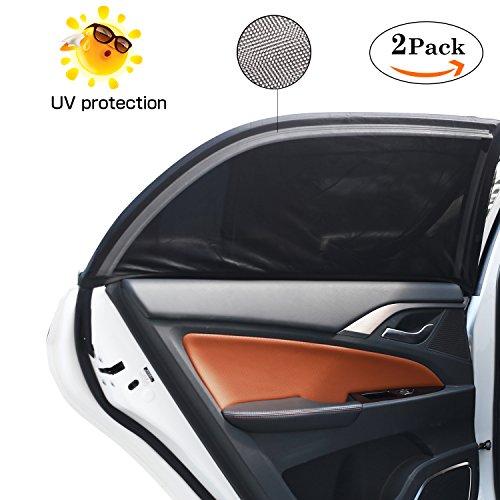 Sonnenschutz Auto, bedee Autofenster Sonnenblende Universelle Auto-Sonnen-Schutz mit UV Schutz für Kinder/Baby / Pets, 126 × 52cm Passen Meisten Autos und SUVs, Einfach zu Verwenden (2 Stück, L)