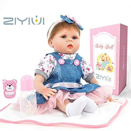 d10794830f2d ZIYIUI 18 Pulgadas 45 cm Muñecas Reborn bebé Realista Silicona Suave ...
