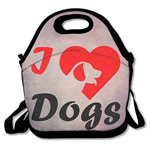 fengxutongxue I Love Dogs Insulated Lunch Bag with Zipper,Carry Handle and Shoulder Strap for Adults Or Kids Black