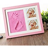 Mold Your Memories Baby Clay Handprint & Footprint Photo Frame (PINK) For Newborn Girls And Boys – Safe And Non-toxic Clay | Elegant Solid Wood | Perfect New Baby Boy/Girl Baby Shower Gift (Pink)