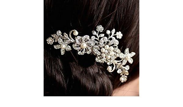 accessori acconciatura matrimonio  pettine cascata di fiori perline Strass   Amazon.it  Bellezza 52d521996bde