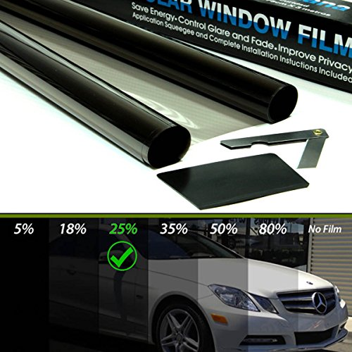 Promo Link Tönungsfolie Schwarz 25% 76x300cm Scheibenfolie Auto Fenster Sonnenschutzfolie