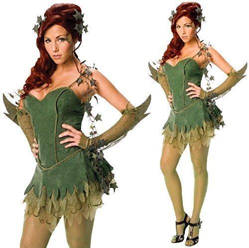 Batman Kostüm Poison Ivy (Damen Kostüm Poison Ivy Batman Gegener Sexy Deluxe Offiziell Lizensierte Halloween Verkleidung - Damen:)