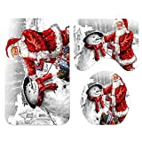 Koojawind Bad VorhäNge Teppiche Set, Santa Christmas Print Wc Badezimmer Matte Und Duschvorhang Anti Rutsch Wasserdicht Weihnachten Duschvorhang