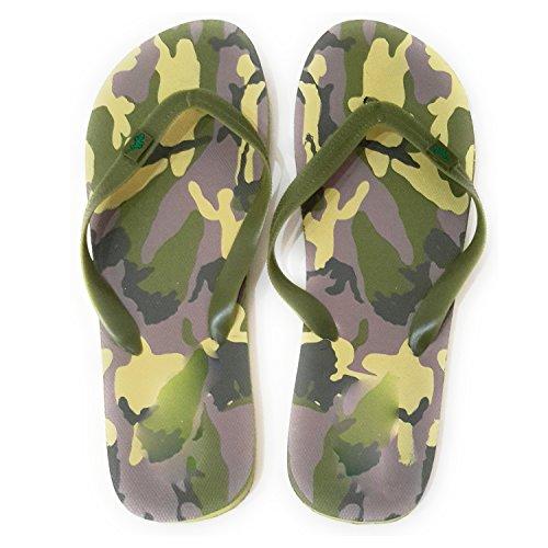 Flip Flops Herren Dusch Badeschuhe und Sommer Strandschuhe, Angenehm zu Tragen. Verschiedene Modelle und Farben Tarnfarbe Olivgrün