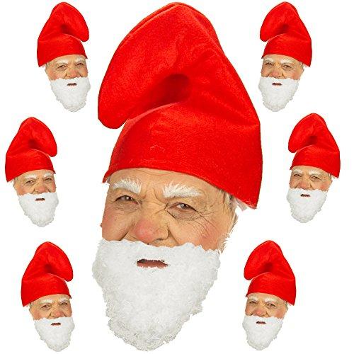 Spassprofi 7 Zwergenmützen rot + Bart Hut für Kostüm Zwerge Gnom Märchen