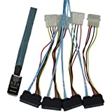 CableDeconn SFF-8643 Internal Mini SAS HD to (4) 29pin SFF-8482 Connectors Power Port 12GB/S Cable (1M)