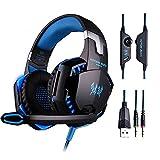 PUNICOK PS4 Gaming Headset G2000 Kopfhörer mit Mikrofon 3.5mm On Ear Surround Sound Ohrhörer und Lautstärkeregelung für PS4 Xbox One PC Laptop Tablet Mobile Phones Blau