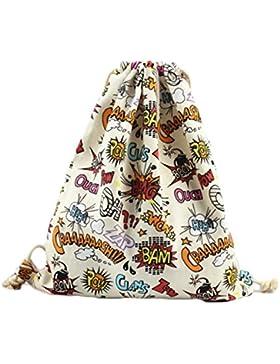WeiMay Kordelzug Rucksack Tasche Große Explosion Muster Multifunktion Faltbar Canvas Schultertasche Sporttaschen