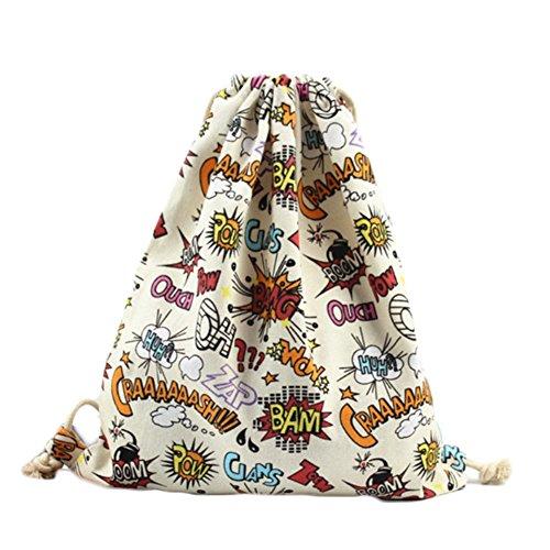 Lumanuby 1 Stück Turnbeutel Mode Beutel Praktisch Drawstring Bag Durable Canvas Material Rucksack Mode Attraktiver Druck Kordelzug Tasche Größe: 34*41cm Große Explosion Bild (Drawstring-rucksack Große)