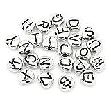 SiAura Material 20 Stück Metallperlen 7x8mm mit 3,8mm Loch, Herzen Buchstaben Mix, Silberfarben zum Basteln