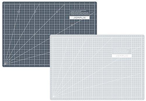 SEMPLIX Selbstheilende Schneidematte A3 in Grün, Rosa, Grau, Türkis, Lila. Ideal fürs Basteln, Nähen und Patchworken. 45x30 Beidseitig Bedruckt. Vorderseite cm, Rückseite inch Bemaßung -