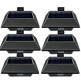 Uniquefire Schwarz Solarlampe 12 LEDs Dachrinnen Außenlampe Leuchte Wandlampe Solar Warmweiße Licht f.Garten, Terrasse, Fahrtweg, Höfe, Traufen (6 STK.)