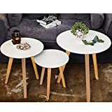 [White Round Coffee Table with wooden legs] A set of 3 Wooden Tea Table Nesting Tables Multifunctional Modern Living Room Side End Table for Office, Kitchen, Living room table