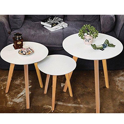 3 x Esszimmertische BigTree Runder Esstisch Kaffeetisch Beistelltisch mit Gummi Untersetzer aus Holz für Wohnzimmer Garten in Weiß