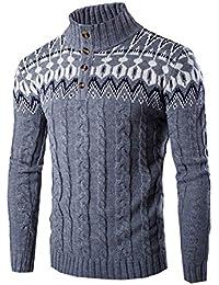 Jerséi De Manga Larga - Estilo Étnico Suéter Con Cuello Alto Para Hombre